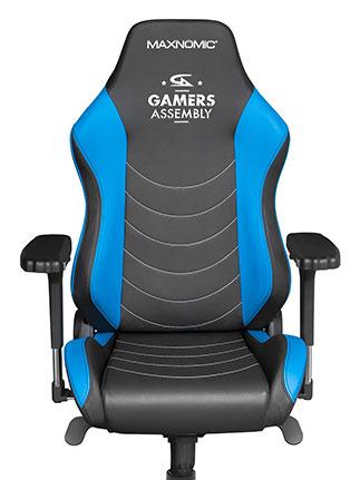 siège gamer noir bleu clair gamers assembly GA maxnomic