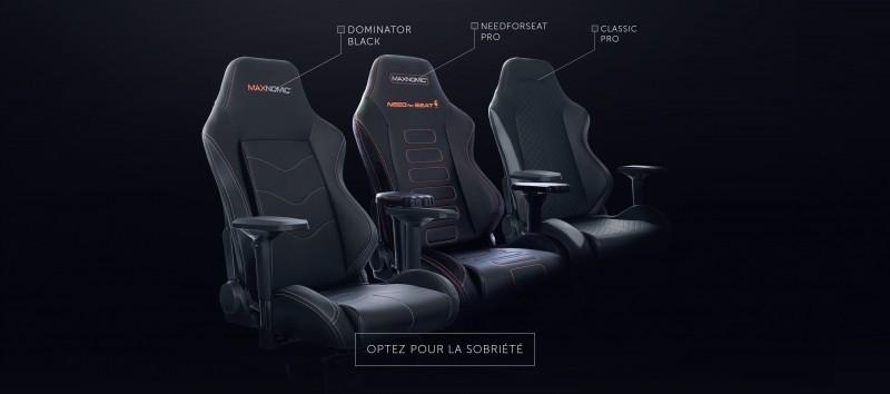 Visuel des sièges NeedforSeat PRO, Classic Office et Dominator Black